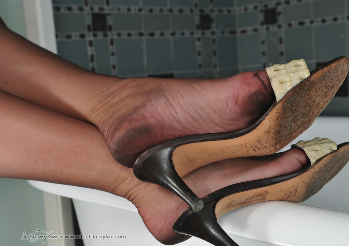 More detail dirty nylon feet can believe